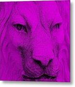 Frankie Lion Purple Metal Print