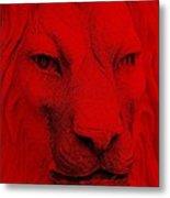 Frankie Lion Red Metal Print