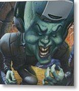 Frankinstein Playing The Air Guitar - Parody - Illustration - Monster Monsters - Humorous Metal Print