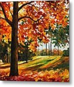 Freedom Of Autumn - Palette Knife Oil Painting On Canvas By Leonid Afremov Metal Print