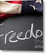 Freedom Sign On Chalkboard Metal Print