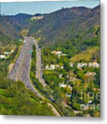 Freeway Sepulveda Pass Traffic Bel Air Crest California Metal Print