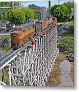Freight Train Bridge Crossing Metal Print