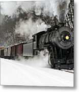 Freight Train With Steam Locomotive Metal Print