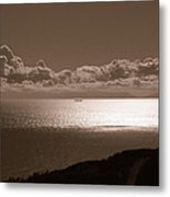Freighter And The Catalina Channel Metal Print