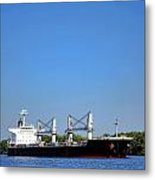 Freighter On River Metal Print