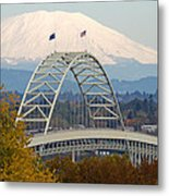 Fremont Bridge And Mount Saint Helens Metal Print