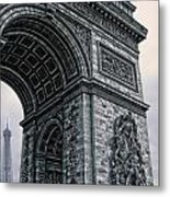 French - Arc De Triomphe And Eiffel Tower II Metal Print