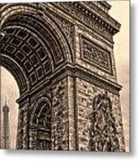 French - Arc De Triomphe And Eiffel Tower IIi Metal Print