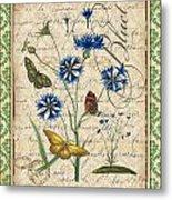 French Botanical Damask-b Metal Print