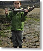 French Boy With Fish Metal Print