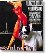 French Bulldog Art - Una Parigina Movie Poster Metal Print