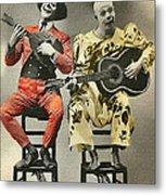 French Clown Musicians Vintage Art Reproduction Tint Metal Print