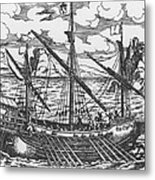 French Galley Operating In The Ports Of The Levant Since Louis Xi  Metal Print