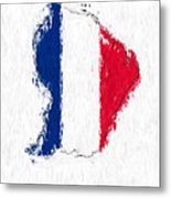 French Guiana Painted Flag Map Metal Print