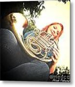 French Horn Below Metal Print
