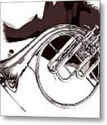 French Horn Painting Antique Classic In Sepia 3426.01 Metal Print