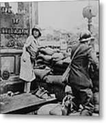 French Man And Woman Fight With Arms Metal Print