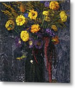 French Marigold Purple Daisies And Golden Sheaves Metal Print