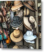 French Market Hats For Sale Metal Print