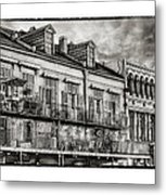 French Market View In Black And White Metal Print