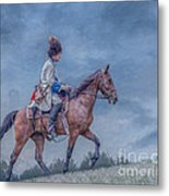 French Officer On Horse Grand Encampment  Metal Print