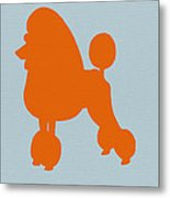 French Poodle Orange Metal Print