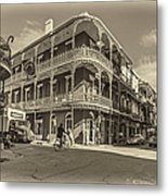 French Quarter Afternoon Sepia Metal Print