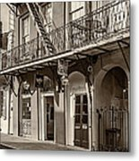 French Quarter Art And Artistry Sepia Metal Print