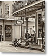 French Quarter - Hangin' Out Sepia Metal Print