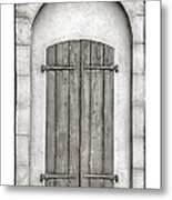 French Quarter Shutters In Black And White Metal Print