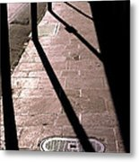 French Quarter Sidewalk Shadows New Orleans Metal Print