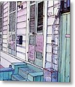 French Quarter Stoop 213 Metal Print by John Boles