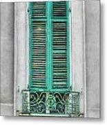 French Quarter Window In Green Metal Print