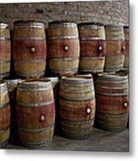 French Wine Barrels Stacked At Winery Metal Print