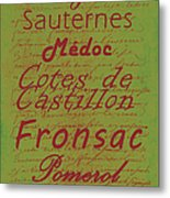 French Wines - 4 Champagne And Bordeaux Region Metal Print