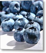 Fresh And Natural Blueberries Close Up On White Metal Print