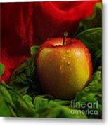 Fresh Apple On Silk Metal Print