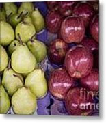 Fresh Apples And Pears On A Street Fair In Brazil Metal Print