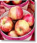 Fresh Apples In Buschel Baskets At Farmers Market Metal Print