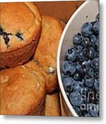 Fresh Blueberries And Muffins Metal Print