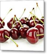 Fresh Cherries On White Metal Print by Elena Elisseeva
