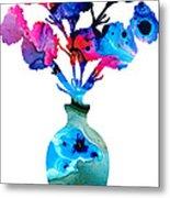 Fresh Cut - Vibrant Flowers Floral Painting Metal Print