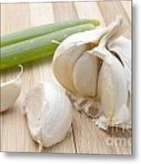 Fresh Garlic And Green Onion Metal Print