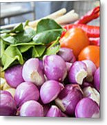 Fresh Ingredients For Cooking Chicken Curry Sauce Closeup Metal Print