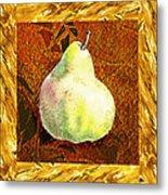 Fresh N Happy Pear Decorative Collage Metal Print