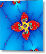 Fresh Orange Red And Blue Abstract Fractal Art Metal Print