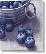 Fresh Picked Blueberries With Vintage Feel Metal Print
