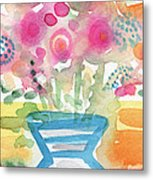 Fresh Picked Flowers In A Blue Vase- Contemporary Watercolor Painting Metal Print