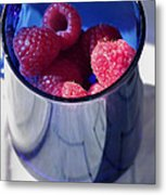 Fresh Raspberries In A Blue Cup Metal Print